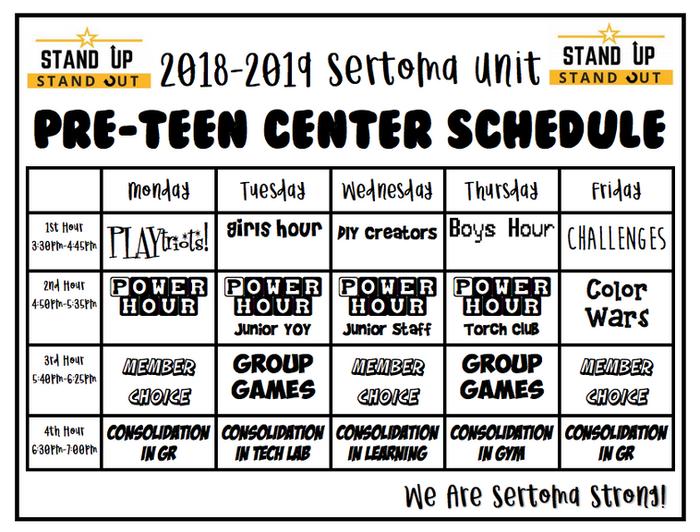 Area Schedules