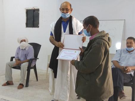 Cours de formation: le 2 mai 20 certificats ont été remis par le Ministère des TE à Rabouni.