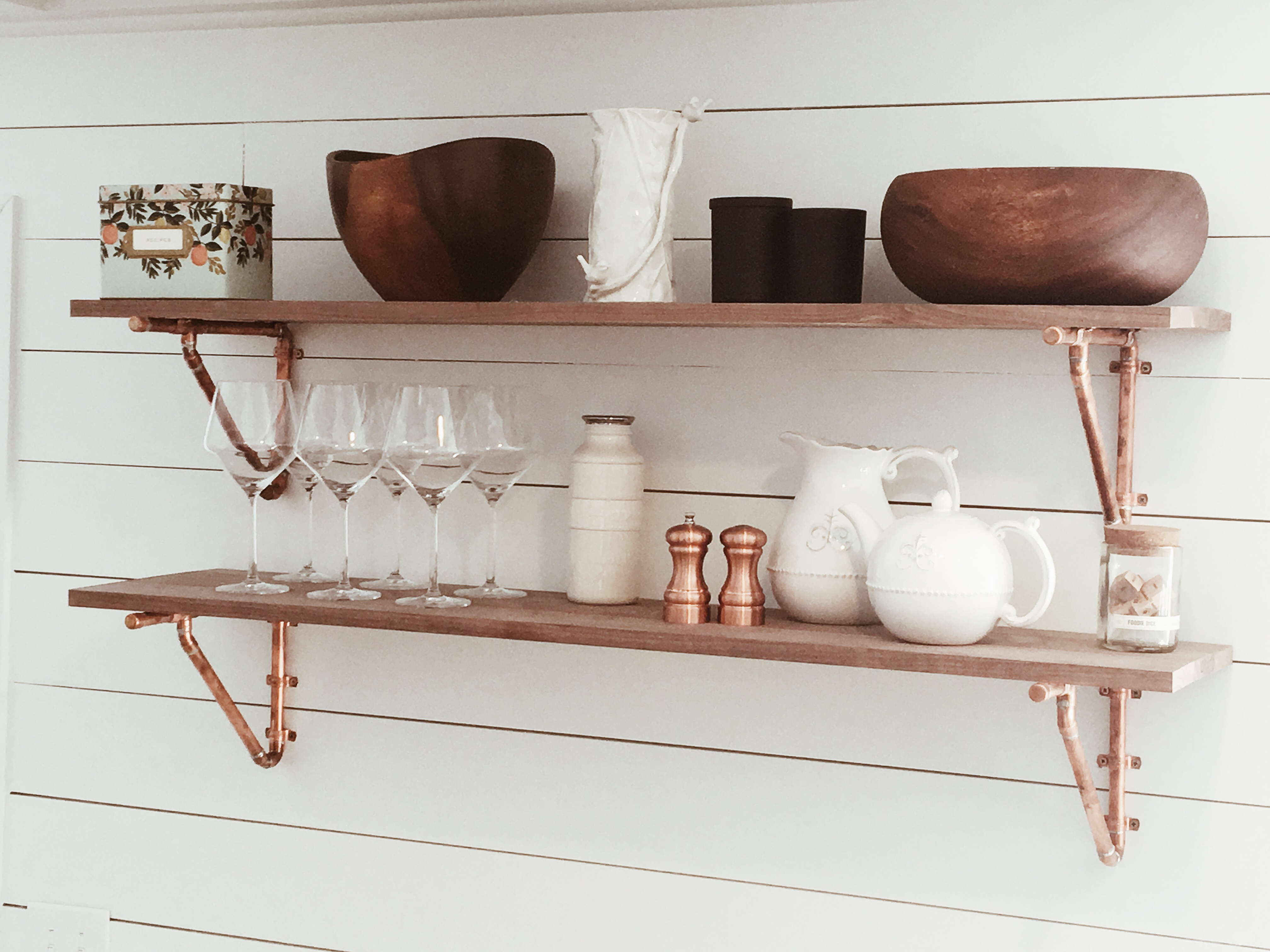Custom copper shelf