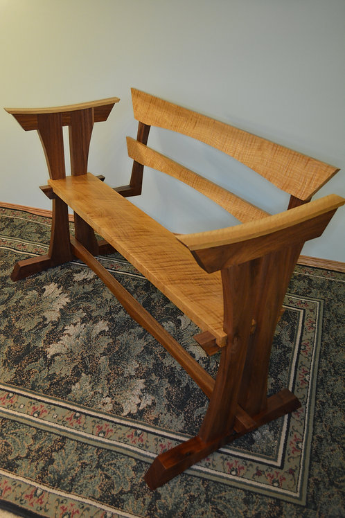 Curly White Oak & Walnut Bench