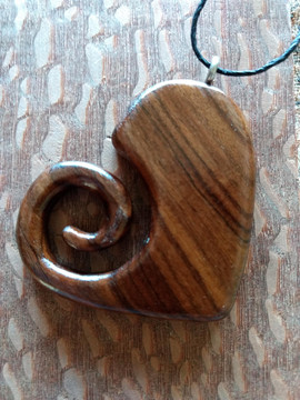Rosewood Heart Necklace