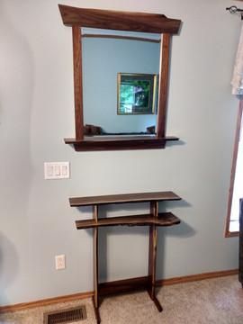 Black Walnut table / mirror set