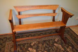 Curly White Oak & Black Walnut Bench