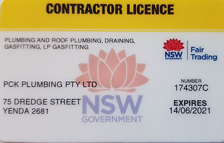 PCK Plumbing Pty Ltd Contractor Licence