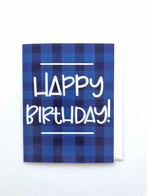 blue plaid birthday card