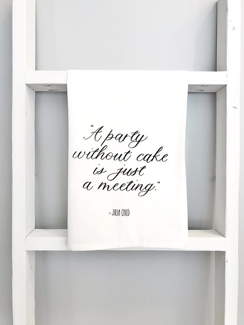 party without cake tea towel