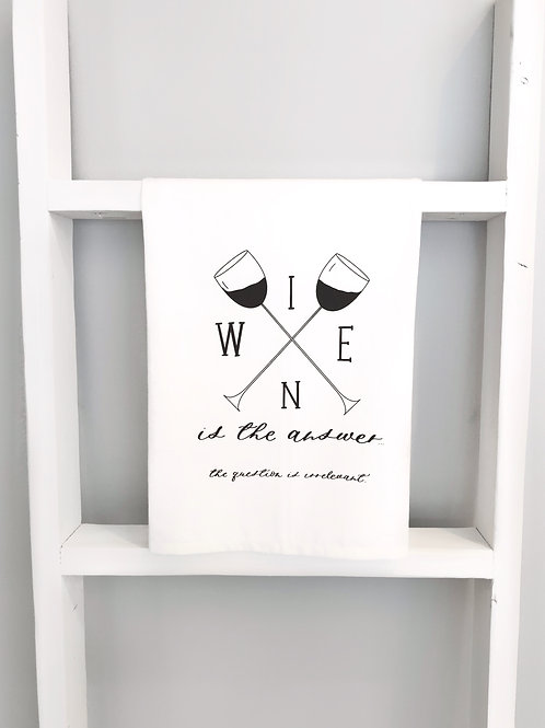 wine is the answer tea towel