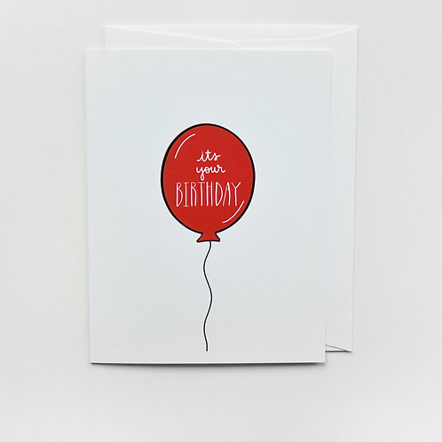 red birthday balloon card