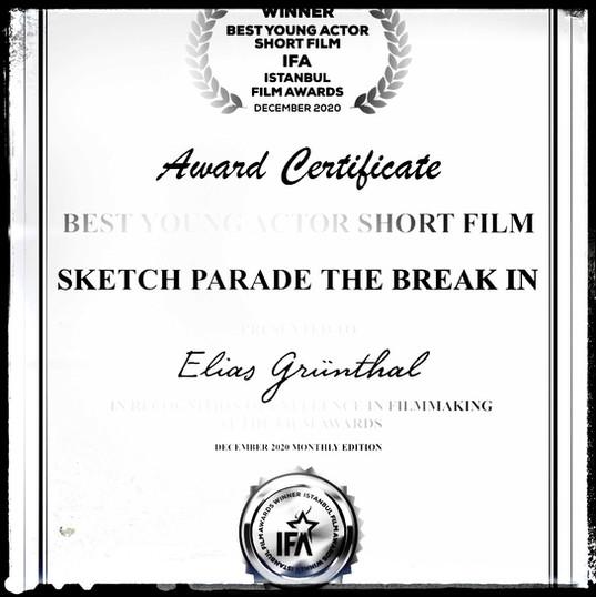 """ELIAS GRÜNTHAL @eliasgruenthal gewinnt mit seinem eigenen Sketch bei den """"Istanbul Film Awards"""" @istanbulfilmawards in der Kategorie """"Best Young Actor"""" und bei dem """"Best Istanbul Film Festival"""" die Kategorie """"Best Short Comedy Jury Award""""! HERZLICHEN GLÜCKWUNSCH!"""
