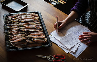 A tray of Iwashi Hikari (cured sardines) - photograph by Pak Keung Wan