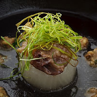 Daikon, pork, crispy leek hotpot with miso dressing - photograph by Pak Keung Wan