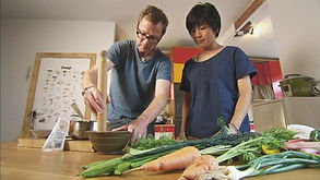 Sachiko Saeki instructing Hugh Fearnley Whittingstall on how to cook Japanese food on River Cottage Veg