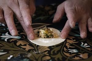 Gyoza filling on a gyoza wrap - photograph by Pak Keng Wan