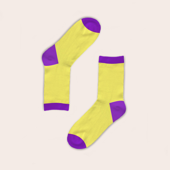 Yellow socks with purple accents