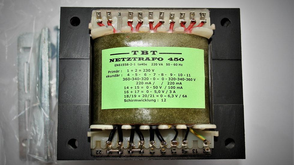Netztrafo NTR 450  220 VA 2 x 360 V 0,25A , 6,3 V 6A , 5 V 3A