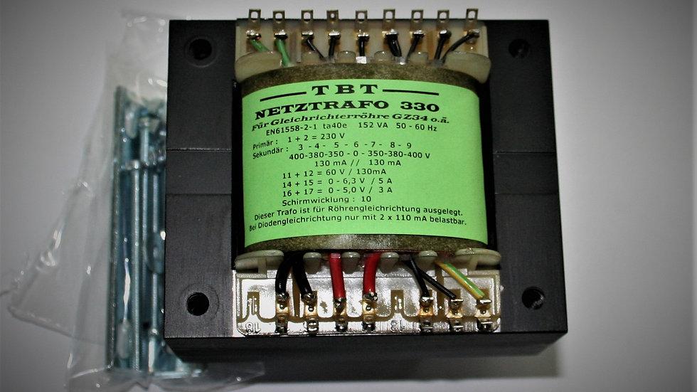 Netztrafo 330 für GZ 34 2x 400-380-350V/0,13A, 6,3V/5A , 5V/3A