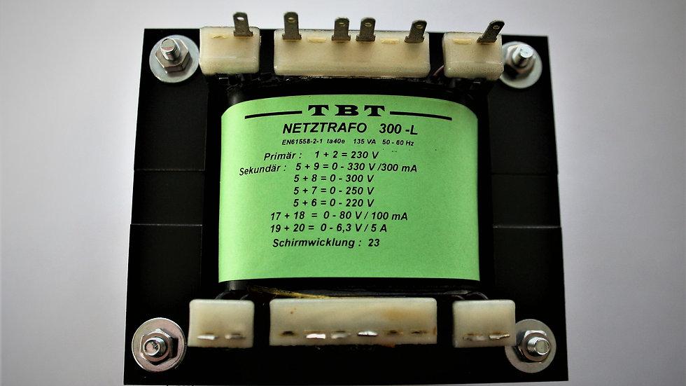 Netztrafo 300 -L 1x 330 -300-250-220 V 0,3A 6,3V 5A