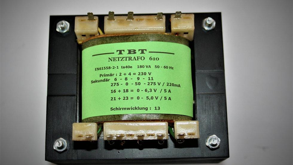 Netztrafo   NTR 610  275 - 0 - 50 -275V 220mA ,  6,3V  5A , 5V  5A
