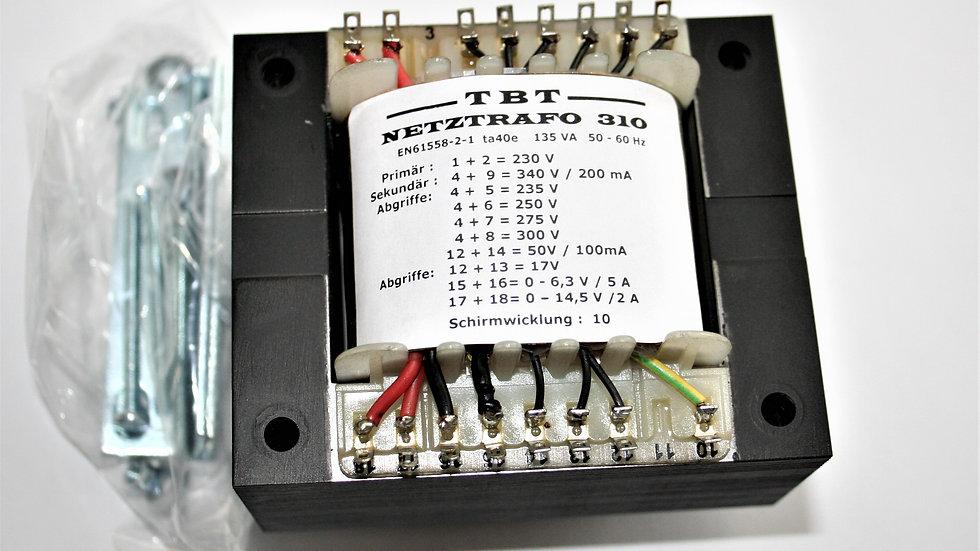 Netztrafo 310 - 235-250-275-300-340 Volt 14,5 Volt 50 Volt 6,3 Volt