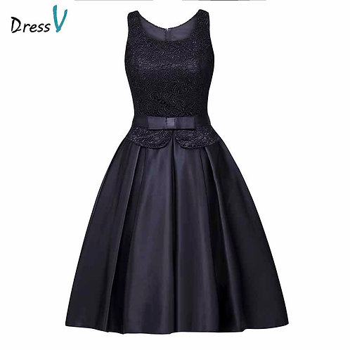 Dressv Scoop Neck Homecoming Dress  Knee Length Cocktail Party Dress Lace