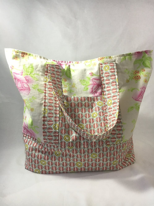 Handmade Large Roses and Melons Shopping Bag
