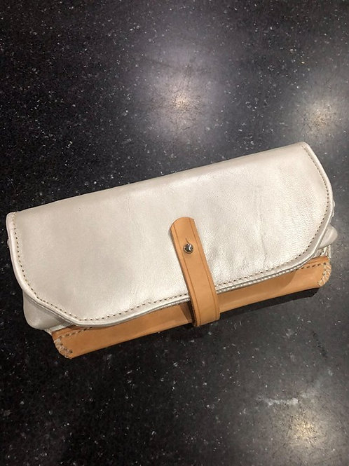 Large Ladies Leather Purse in Silver