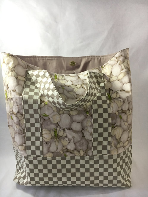 Handmade Large Garlic and Check Shopping Bag