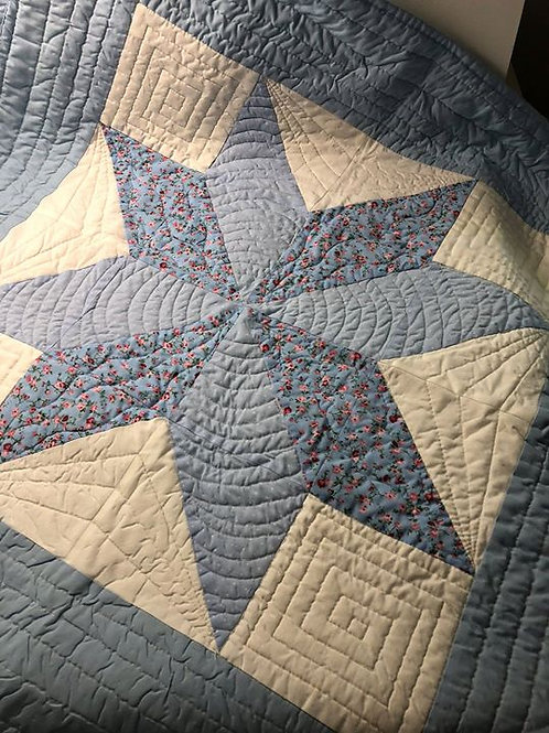 Blue Patchwork Baby Quilt