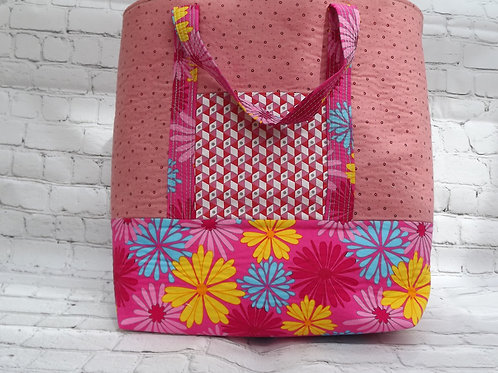 Handmade, Large Pink, Cotton, Floral Print, Patchwork, Market Tote, Shop