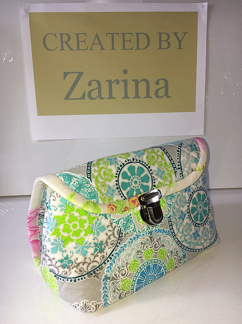 Handmade Quilted Cosmetic Bag with Brush Holder