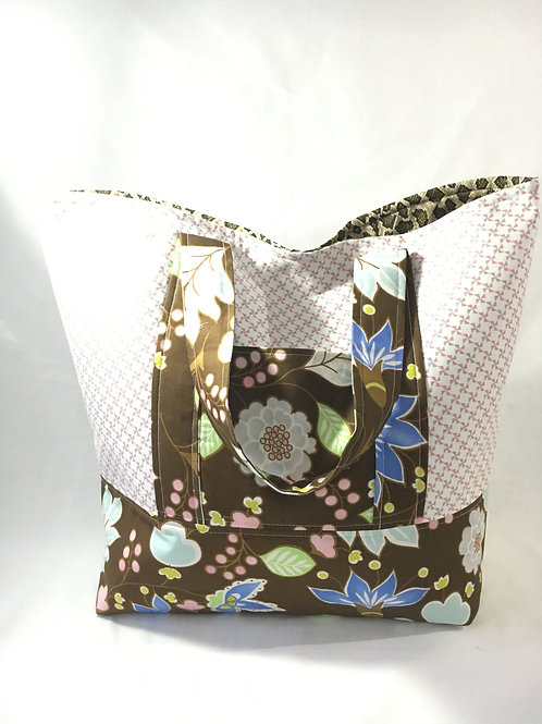Handmade Large Pink and Floral Shopping Bag