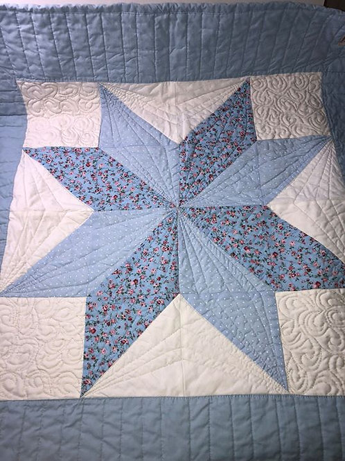 Patchwork Blue Baby Quilt