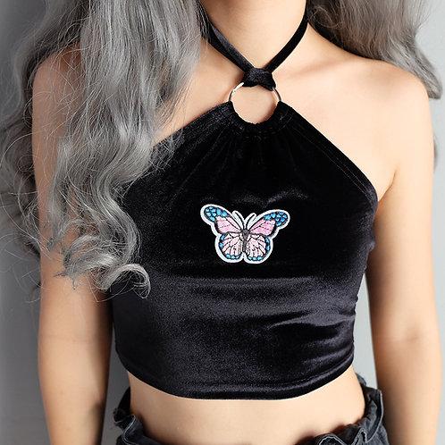 velvet butterfly halter
