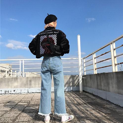 Velvet mock neck jacket