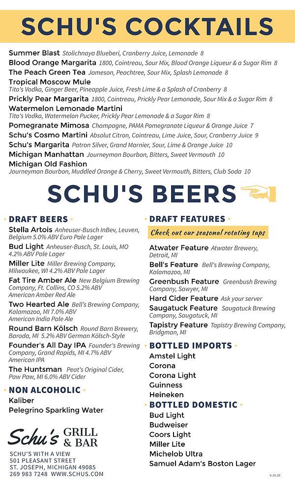 Schus Cocktails  Beers Summer 2020 8-10-
