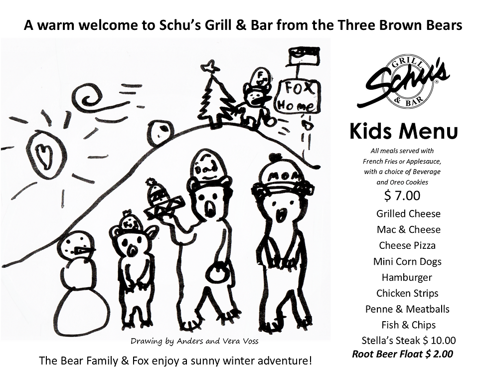 Schu's Kids menu 3 Bears  WINTER 2019.pn