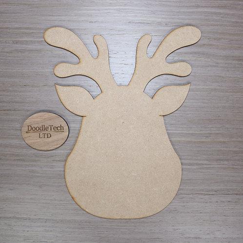 Large Plain MDF Reindeer Head