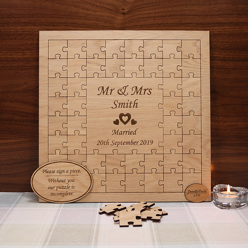 Personalised Oak Jigsaw Puzzle Wedding Guestbook
