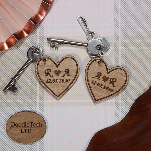 Pair of Heart Keyrings - With Personalised Date & Initials