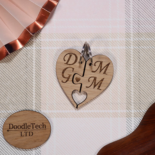 Personalised - Couples Initials Heart Keyring Set