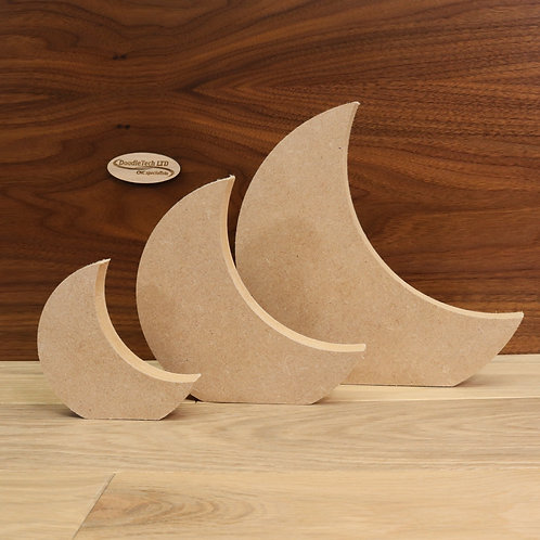 Freestanding Crescent Moon 18mm MDF (100mm - 200mm or set of 3)