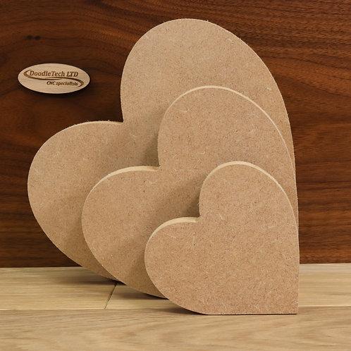 Freestanding hearts 18mm MDF (100mm - 200mm or set of 3)