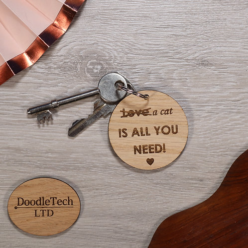 Love a cat - Engraved Oak Keyring