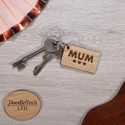 'MUM ♥♥♥' - Engraved Oak Keyring