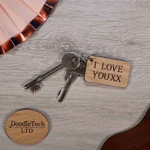 I LOVE YOU XX - Oak Keyring