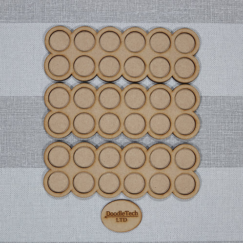 25mm Round - 6x2 - Rounded Edged Movement Trays