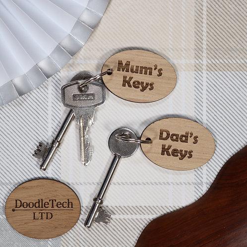 Mum / Dad's Keys - Wooden Keyring Set