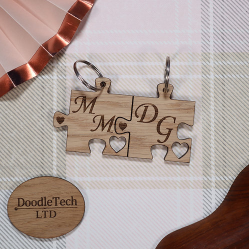 Couple's Initial's - Personalised Puzzle Piece Set