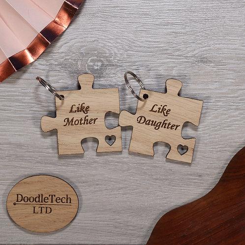 Like Mother Like Daughter - Puzzle Piece Oak Keyring Set