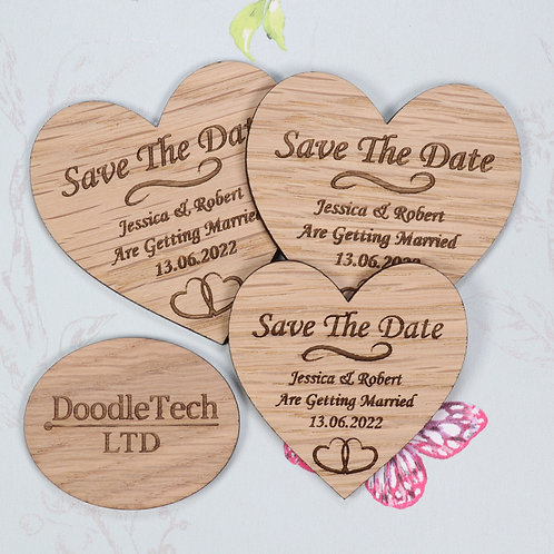 Heart Shaped - Wooden Save the Date Magnets